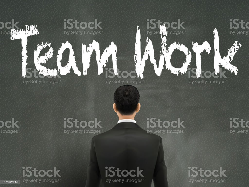 businessman looking at team work words vector art illustration