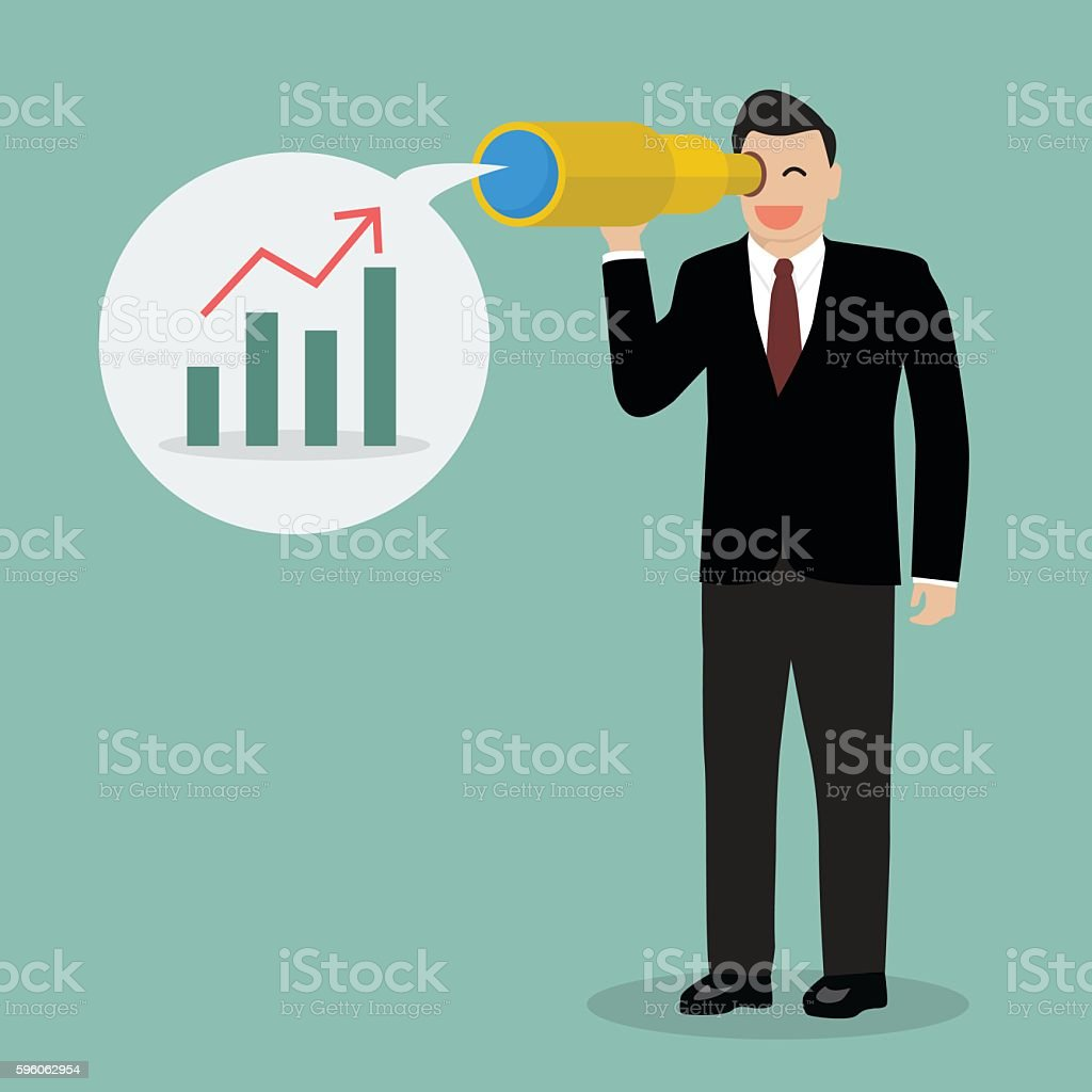 Businessman looking for business future vector art illustration
