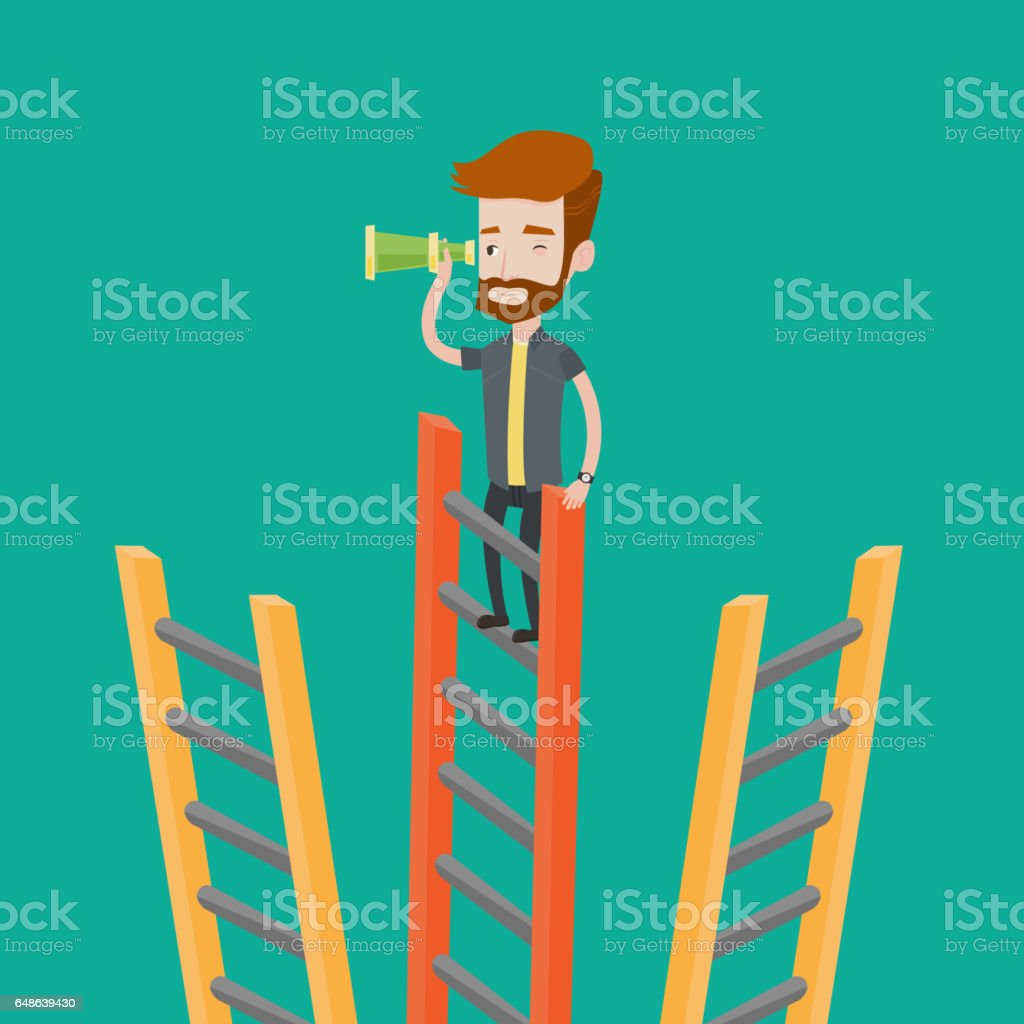 Businessman looking for business opportunities vector art illustration