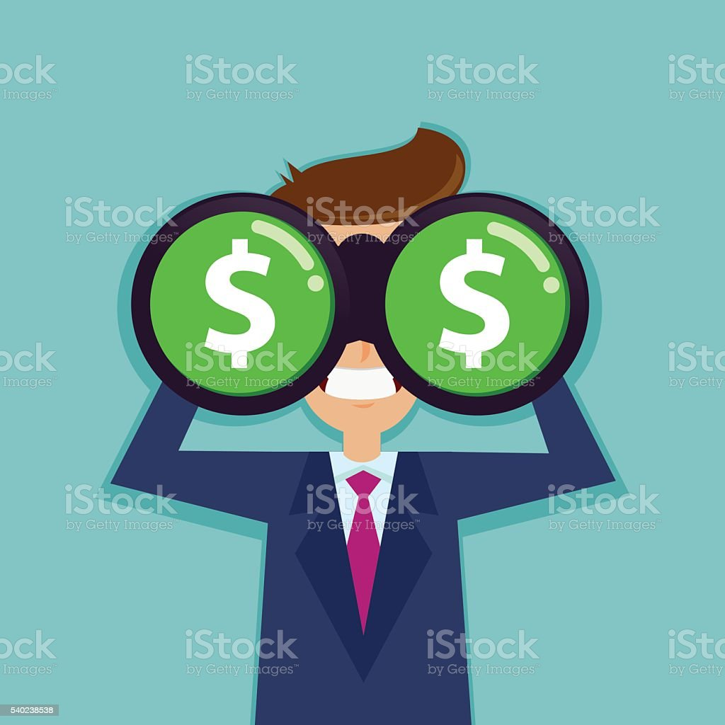 Businessman Looking For Dollar Sign With Binocular vector art illustration