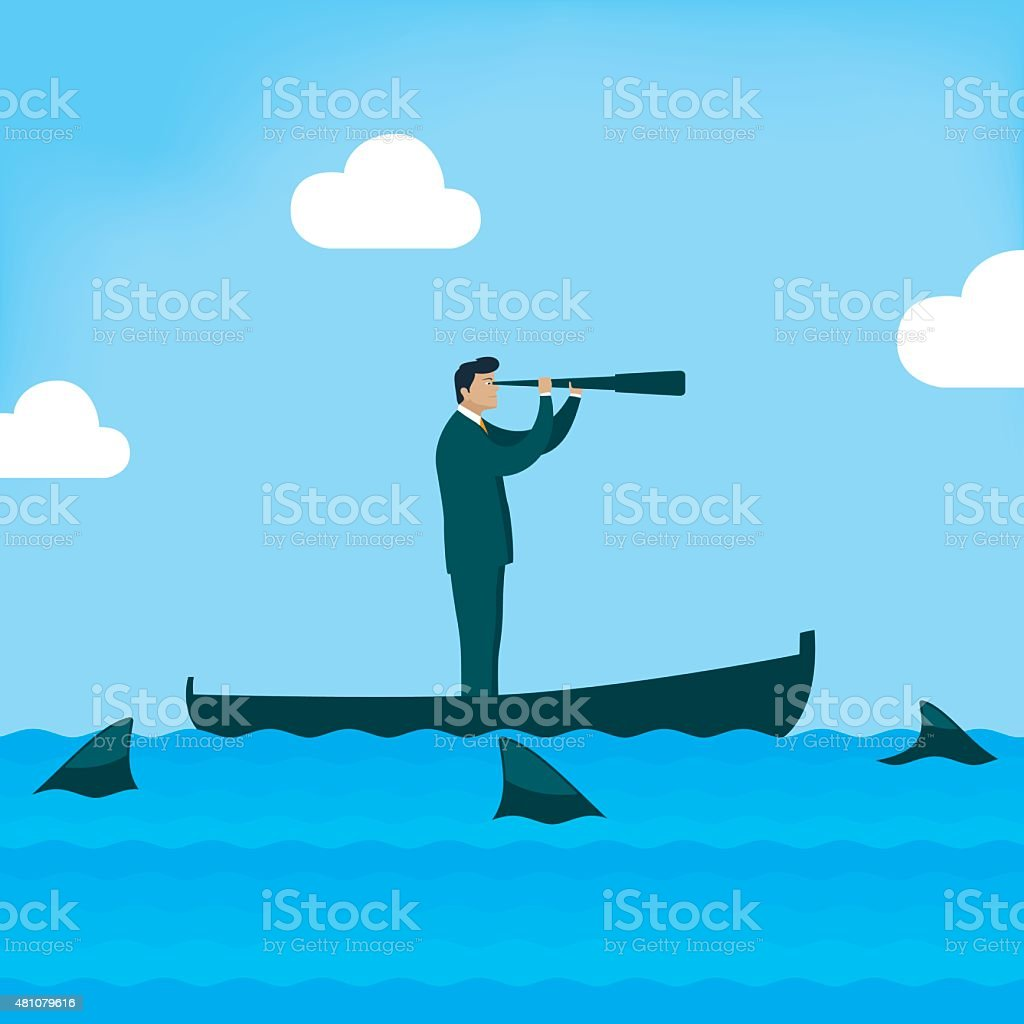 Businessman looking on boat with sharks around him vector art illustration