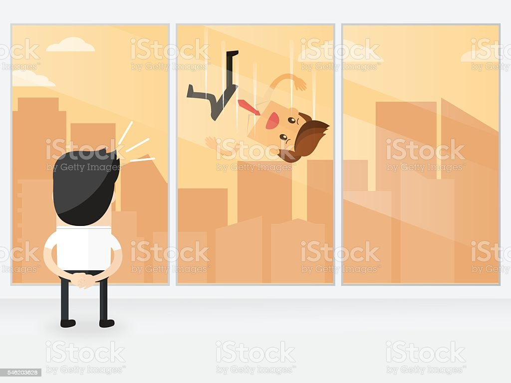 businessman looking out of big window seeing careless businessman falling vector art illustration