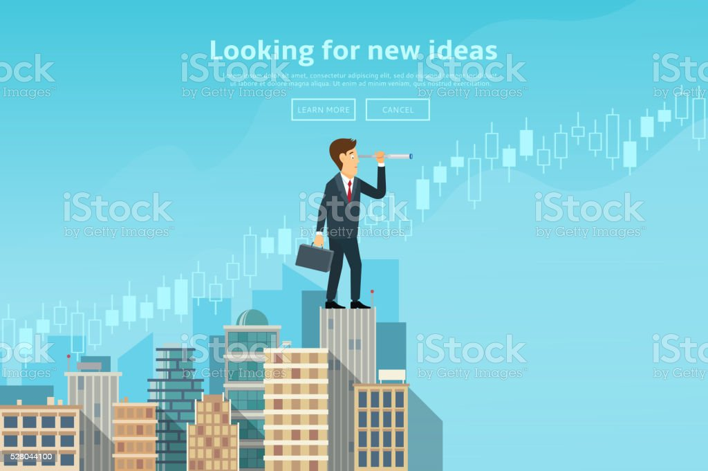 Businessman looking through spyglass and looking for new ideas royalty-free stock vector art