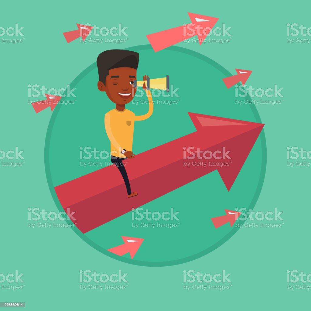 Businessman looking through spyglass vector art illustration