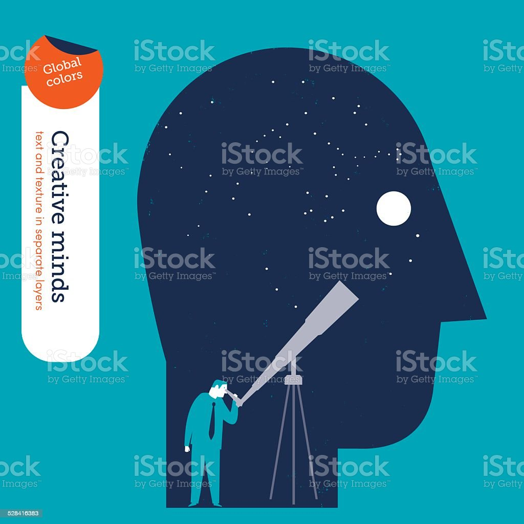 Businessman looking trough a telescope in the head vector art illustration