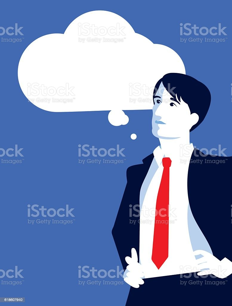 Businessman Looking up at a Thought Cloud vector art illustration