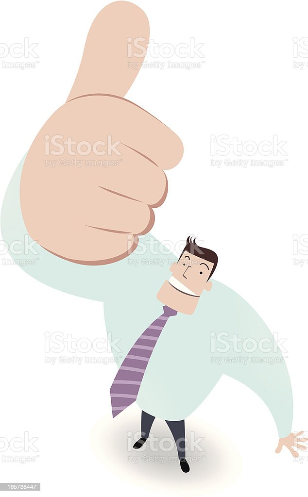 Businessman Looking Upward And Gesturing Thumbs Up vector art illustration