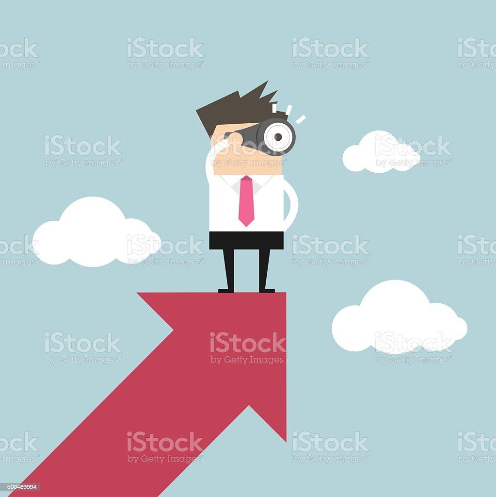 Businessman looks through a telescope on growth arrow vector art illustration