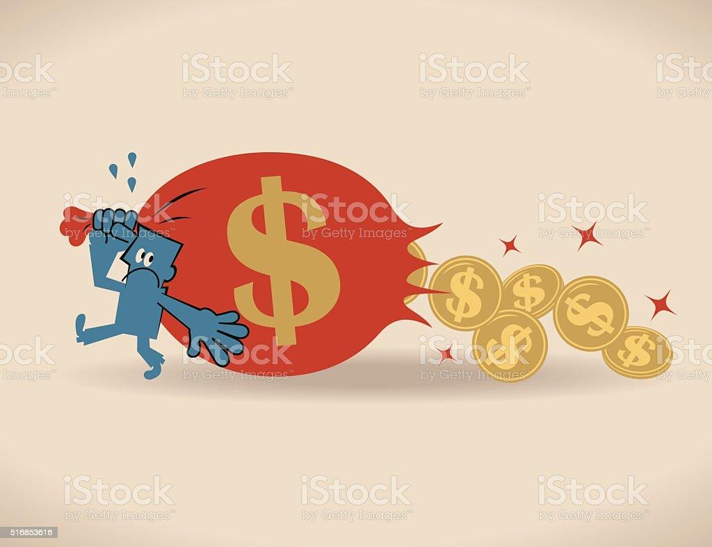 Businessman losing money (Dollar sign coin) from sack bag vector art illustration