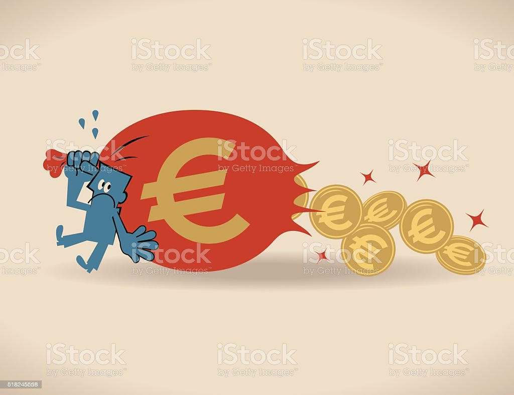 Businessman losing money (Euro symbol coin) from sack bag vector art illustration