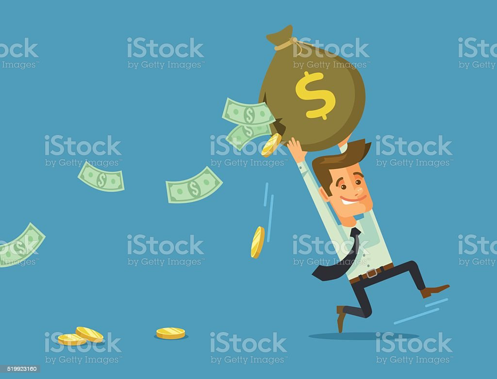 Businessman losing money. Vector flat cartoon illustration vector art illustration