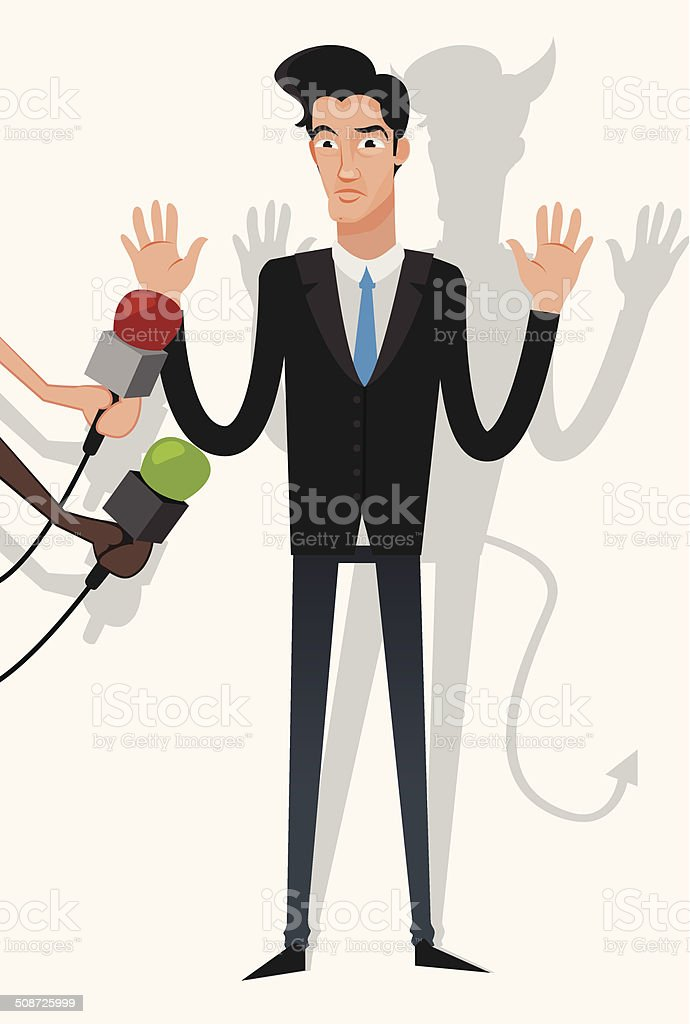 businessman lying to the press vector art illustration