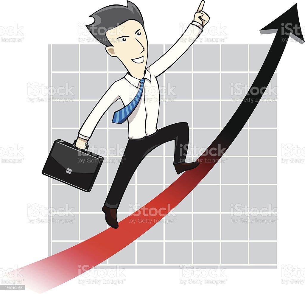 Businessman Man Chart Uptrend Arrow Cartoon royalty-free stock vector art