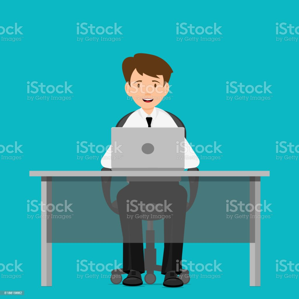 Businessman, manager, consultant at work. vector art illustration