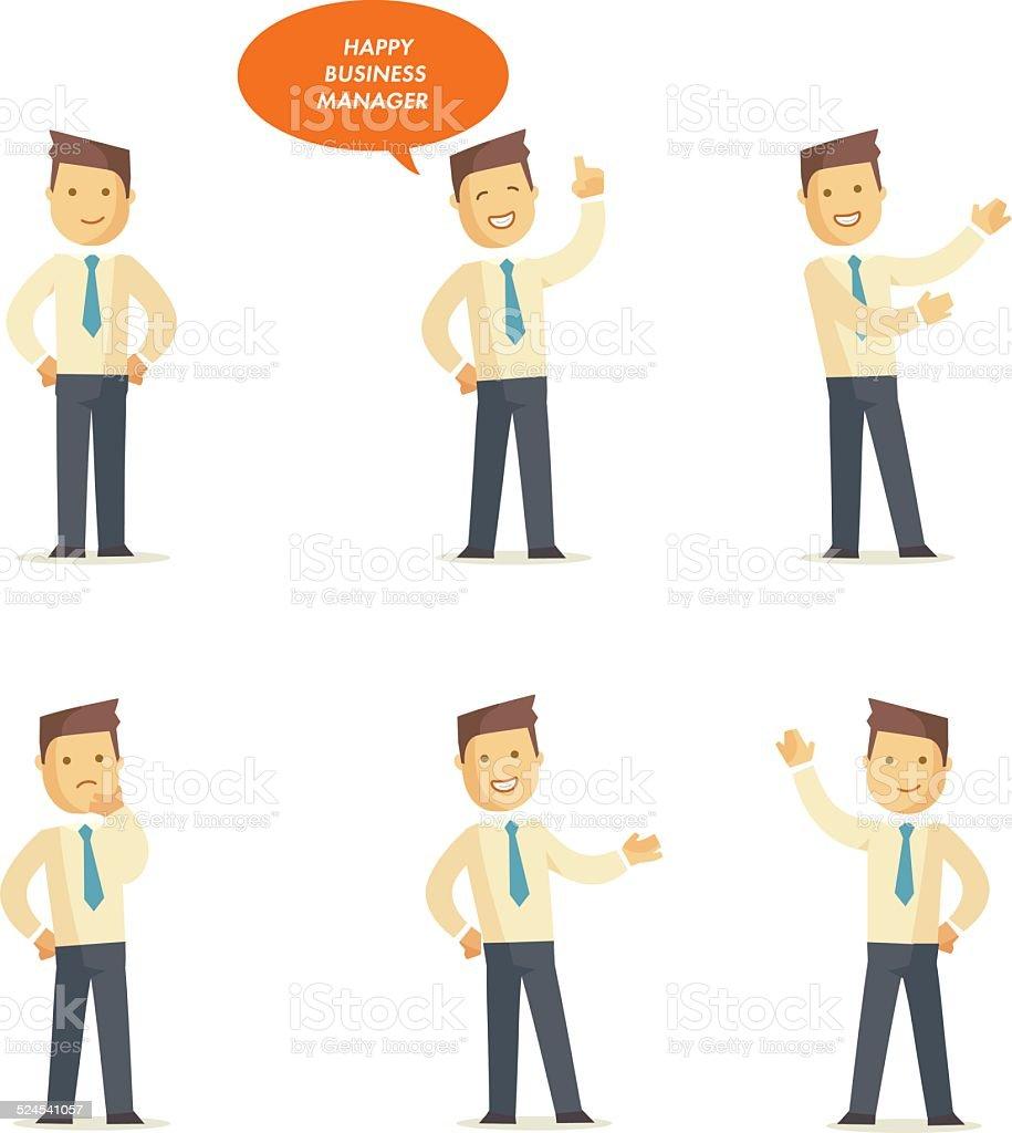 Businessman manager set vector art illustration