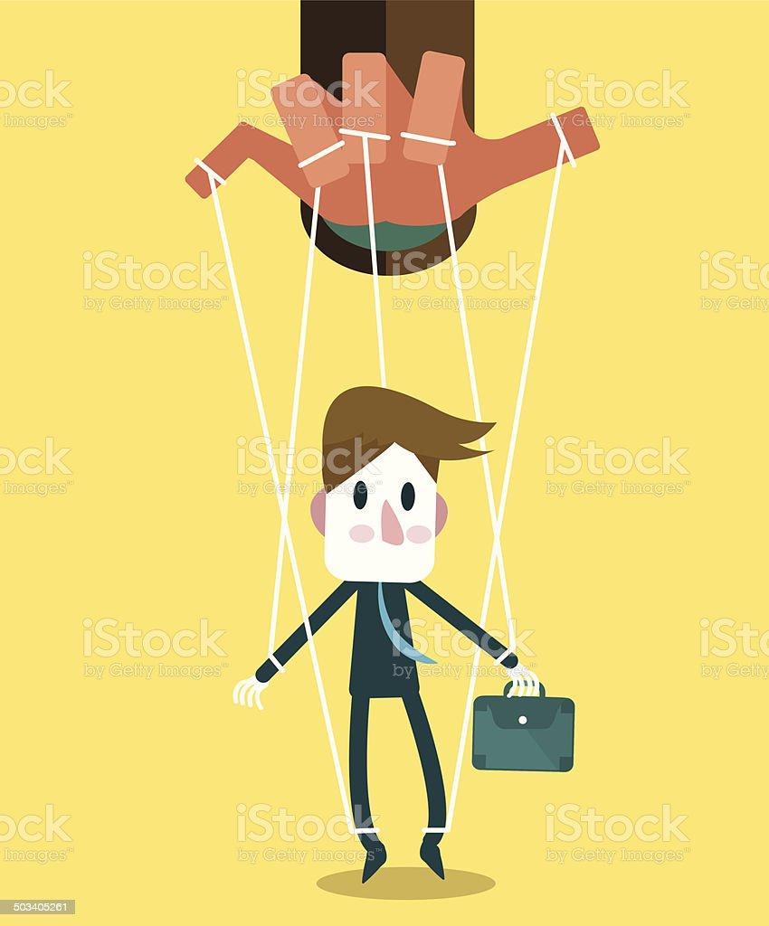 Businessman marionette on ropes controlled hand. vector art illustration