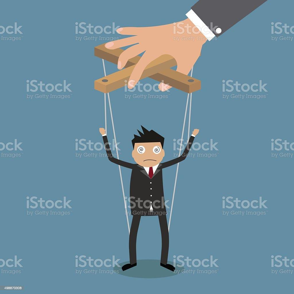 Businessman marionette on ropes vector art illustration