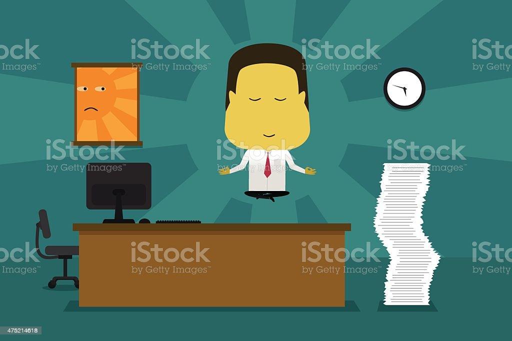 Businessman meditating in the office vector art illustration