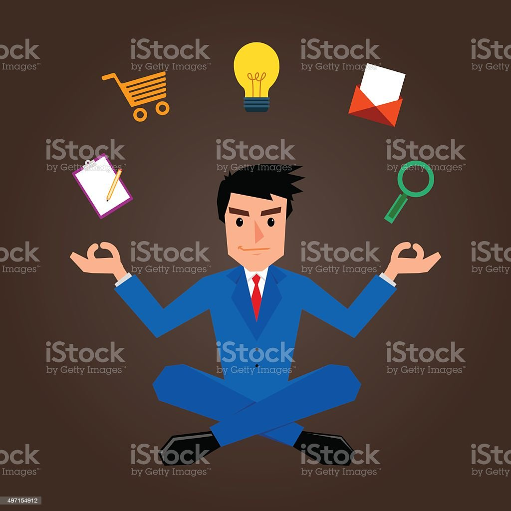 Businessman Meditating With Marketing Icons vector art illustration