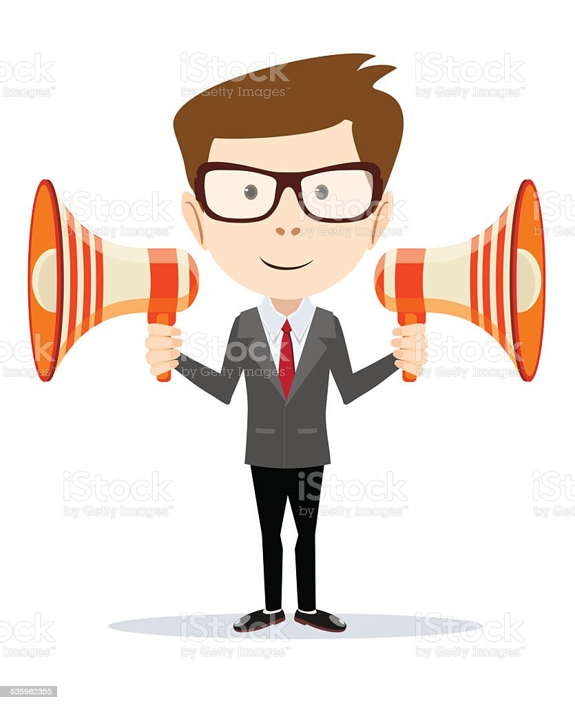 Businessman messenger negotiator with a loudspeaker horn vector art illustration