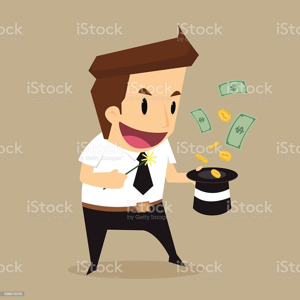 Businessman money flying out of the magic hat vector art illustration