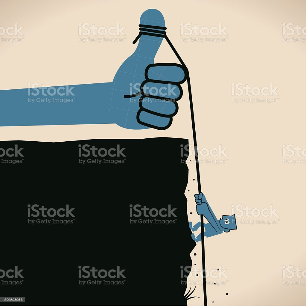 businessman, mountain and rock climbing, rope tied to thumbs up vector art illustration