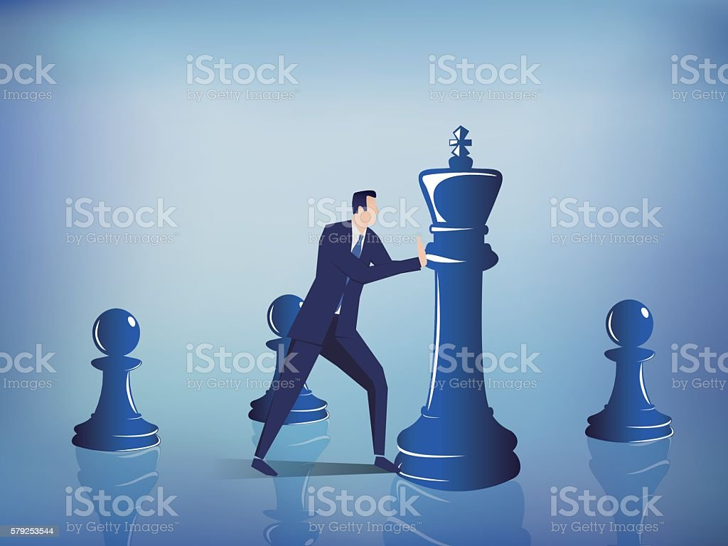 businessman moving chess vector art illustration