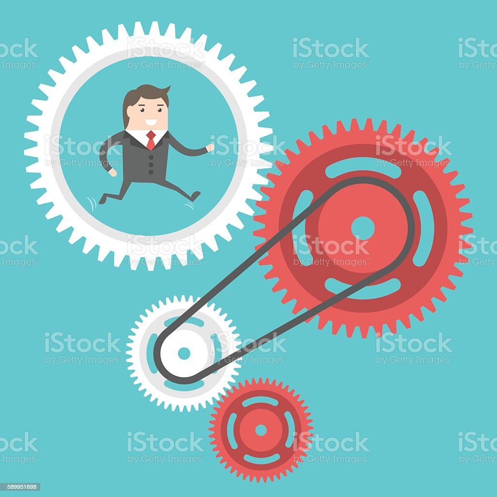 Businessman moving cog wheels vector art illustration