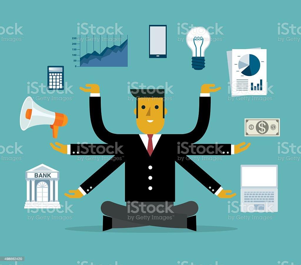Businessman Multitasking with Multiple Arms vector art illustration