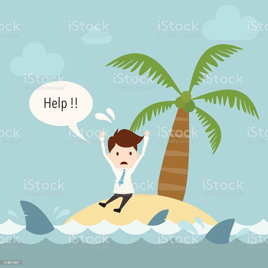 Businessman need help on island. vector art illustration