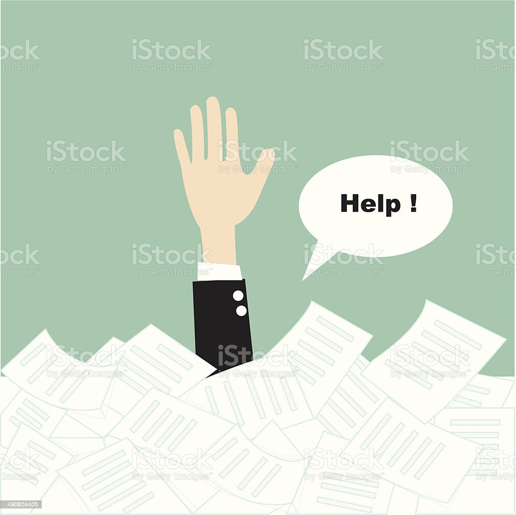 businessman need help under a lot of paper vector art illustration
