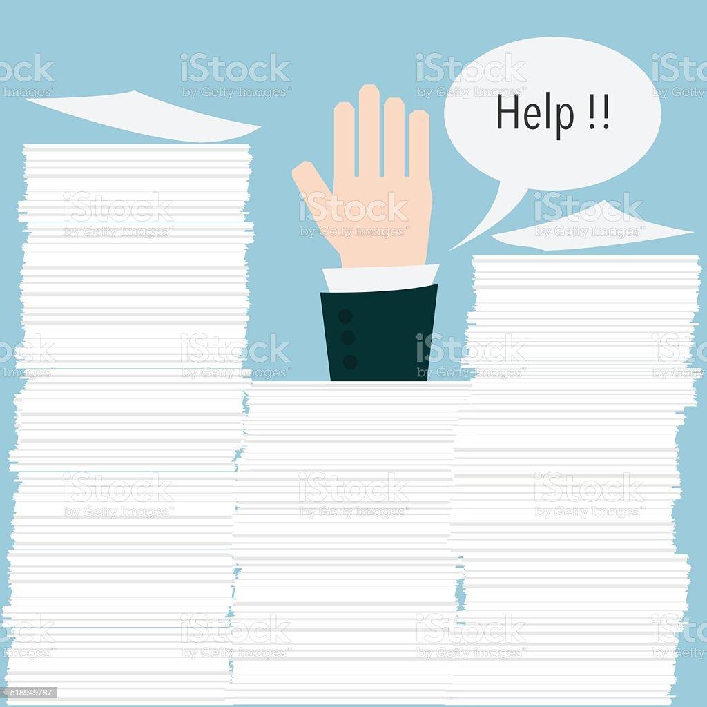 businessman need help under a lot of paper vector art illustration