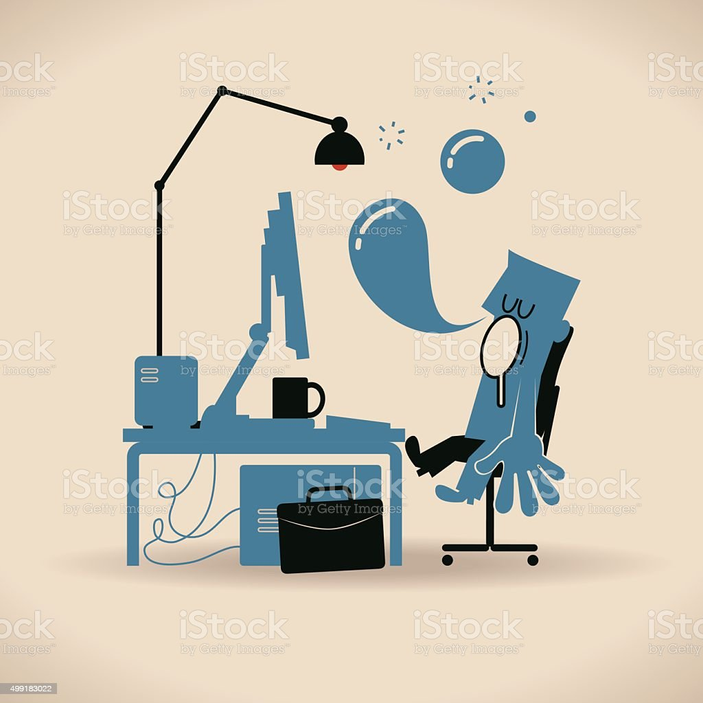 Businessman nods off to sleep while working on laptop computer vector art illustration