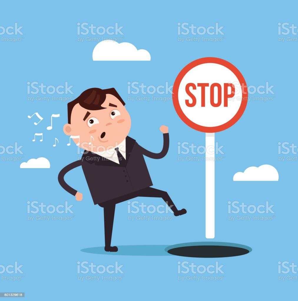 Businessman office worker man character  walks and sings song and do not notice open hole vector art illustration