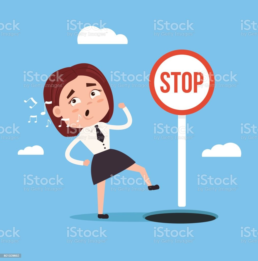 Businessman office worker woman character  walks and sings song and do not notice open hole vector art illustration
