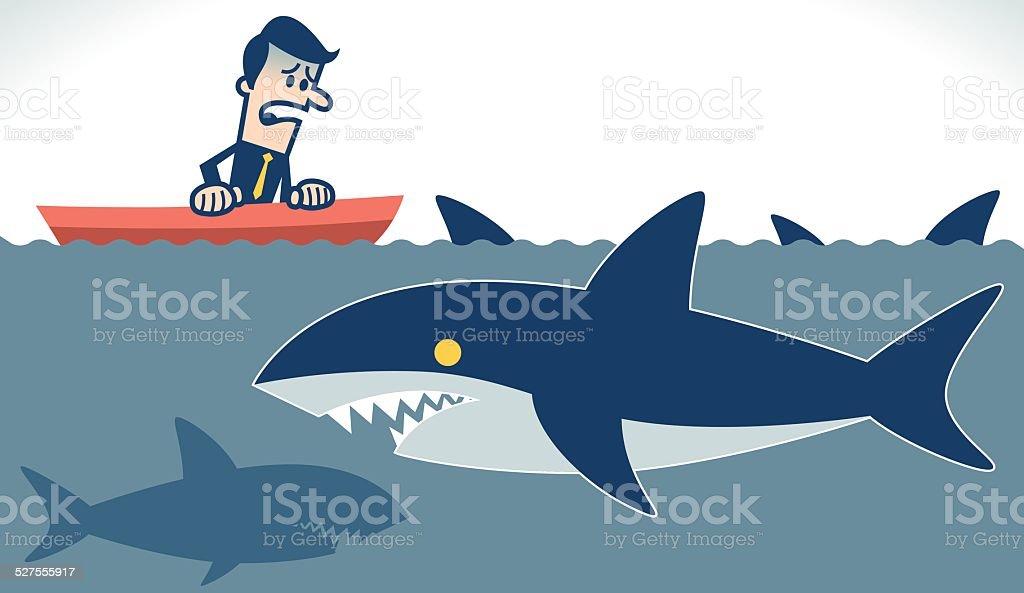 Businessman on a boat vector art illustration