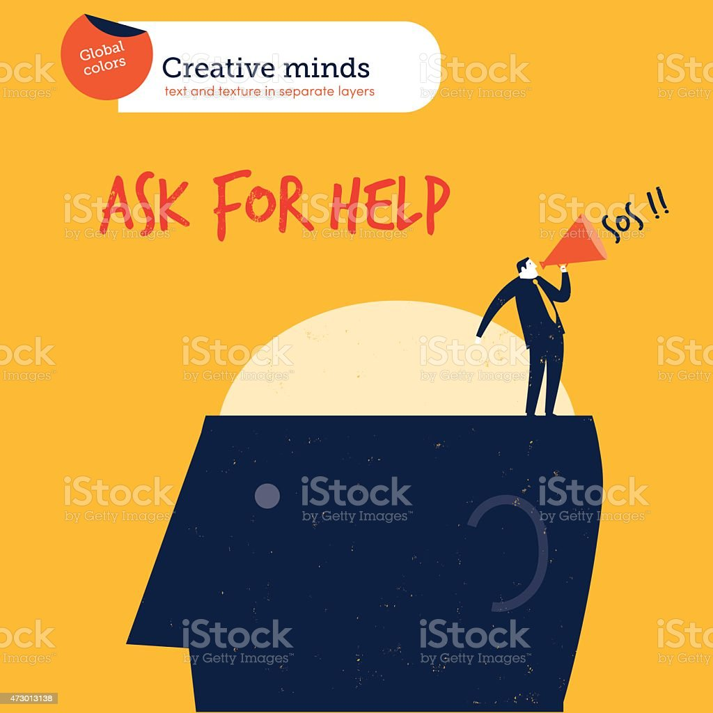 Businessman on a head asking for help vector art illustration