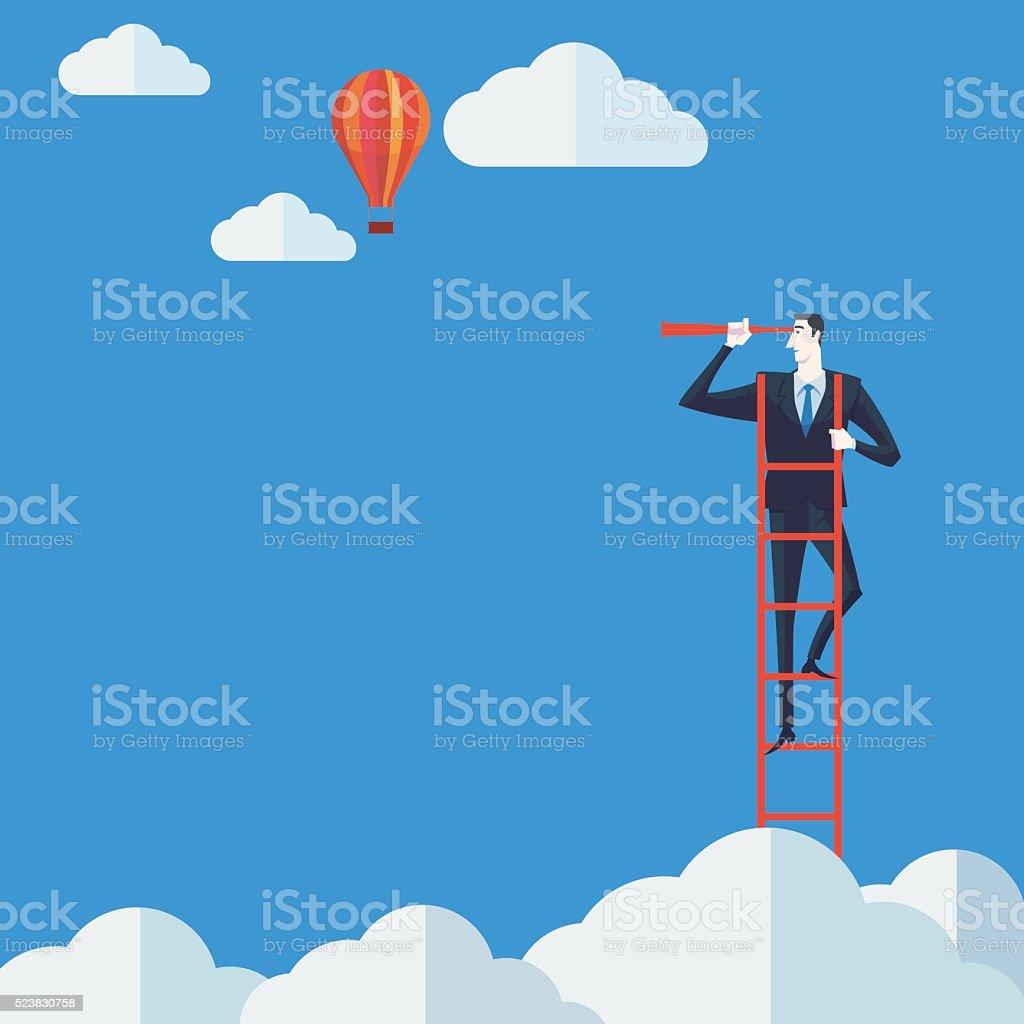 Businessman on a ladder using binoculars above cloud. vector art illustration
