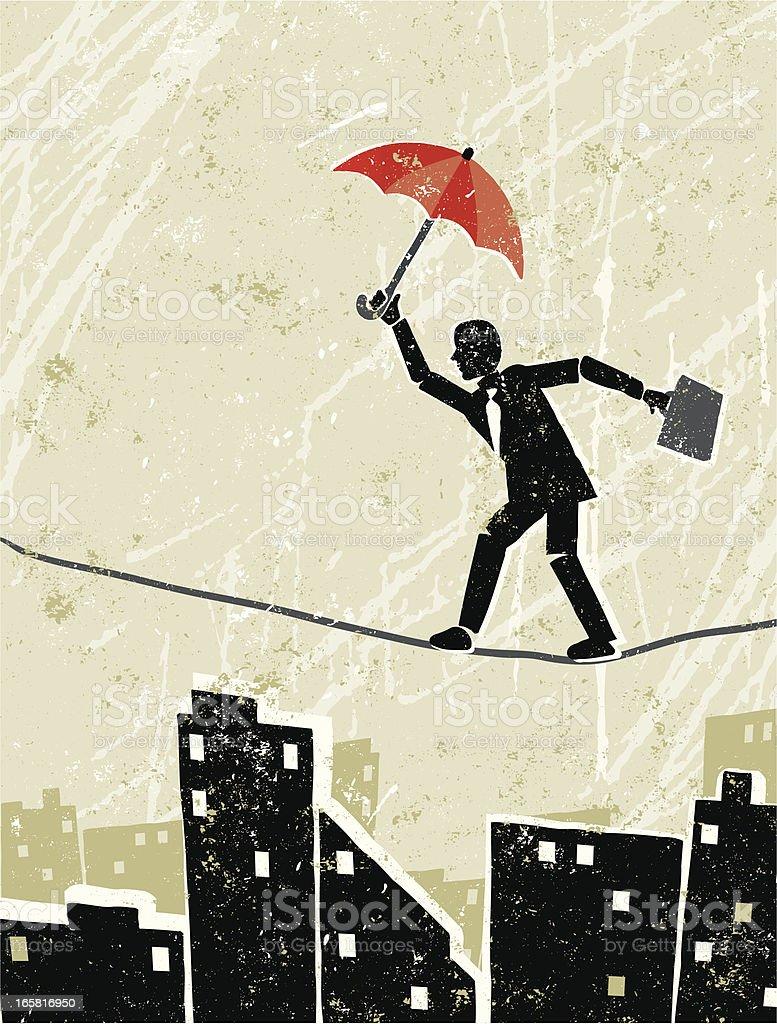 Businessman on a Tightrope vector art illustration