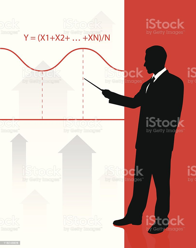Businessman on background with financial equation royalty-free stock vector art