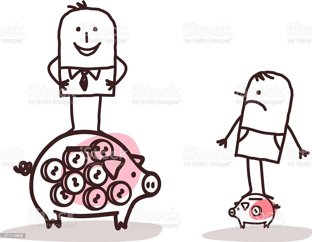 Businessman on Big Piggy Bank, Poor Man with Little One vector art illustration