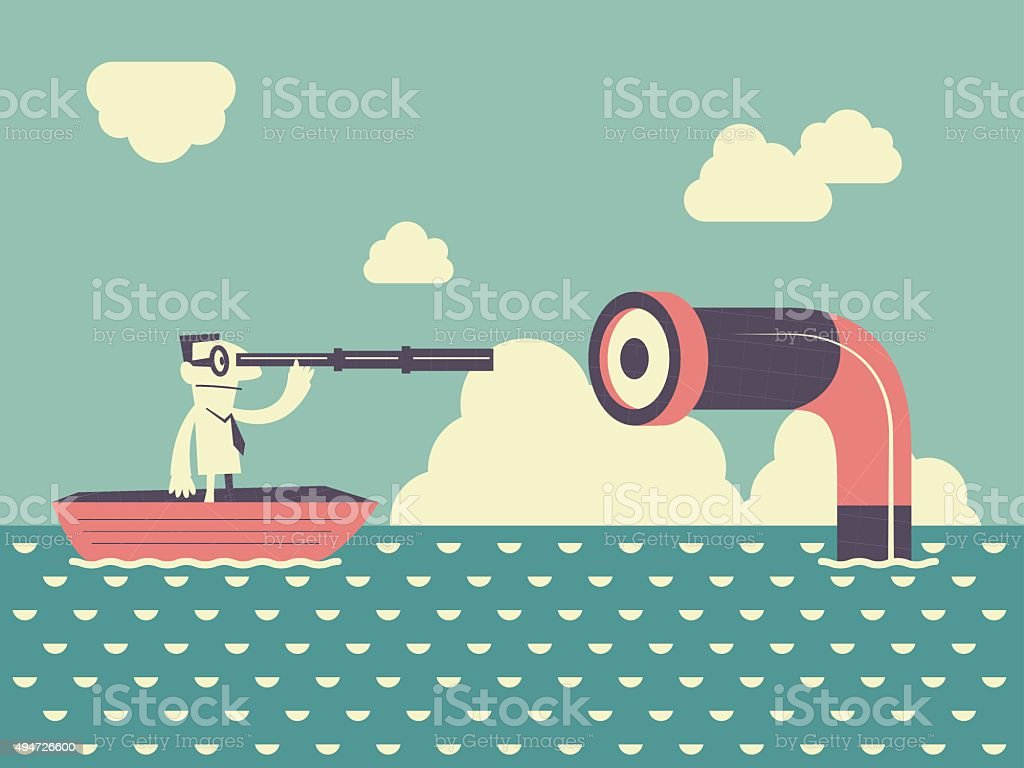 businessman on boat, looking through a telescope. finding a periscope vector art illustration