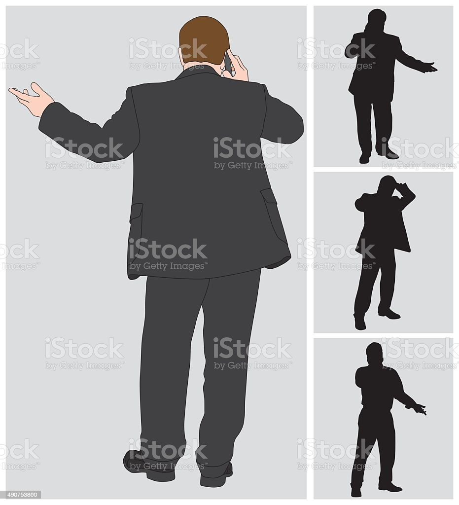 Businessman on Cell 3 vector art illustration