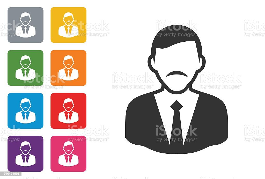 Businessman on colored button stock photo