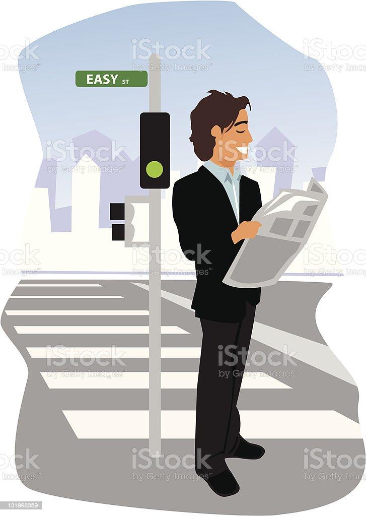 Businessman on Easy St. vector art illustration