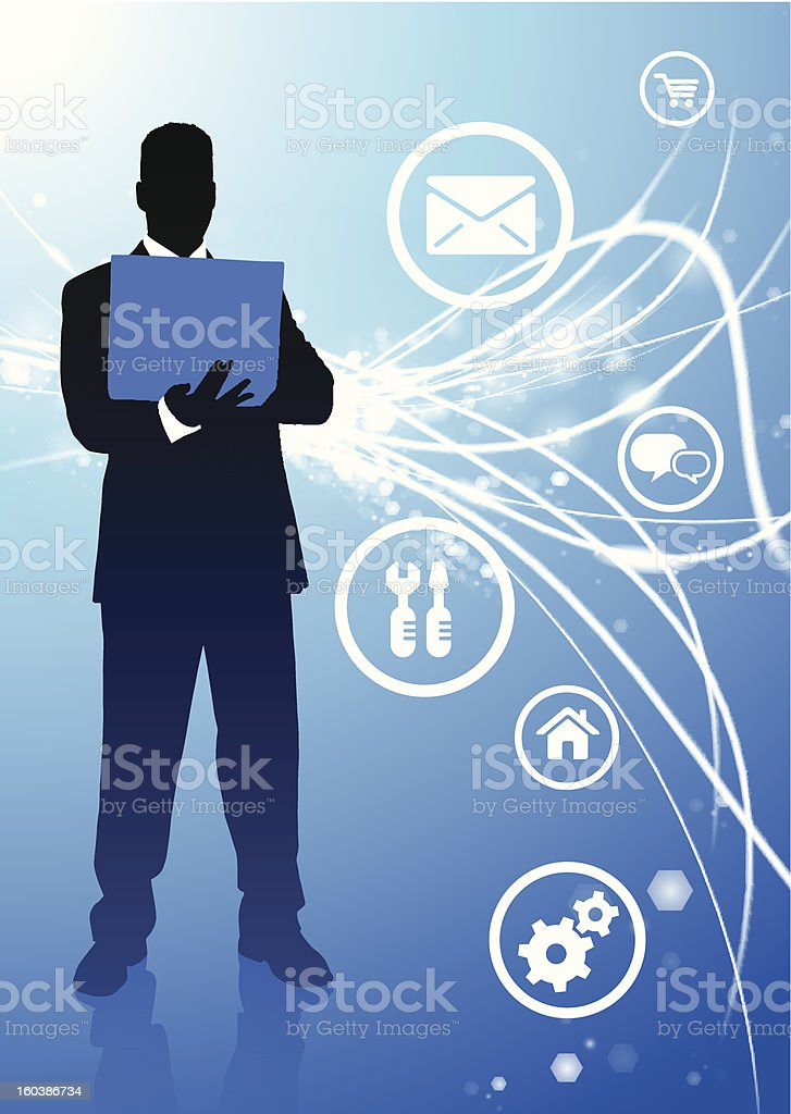 Businessman on Fiber Optic Background with Internet Icons royalty-free stock vector art