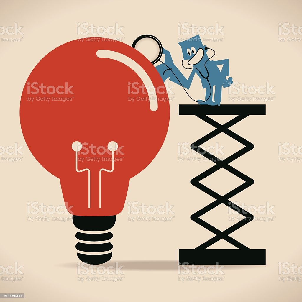 Businessman on ladder listening to idea light bulb by stethoscope vector art illustration
