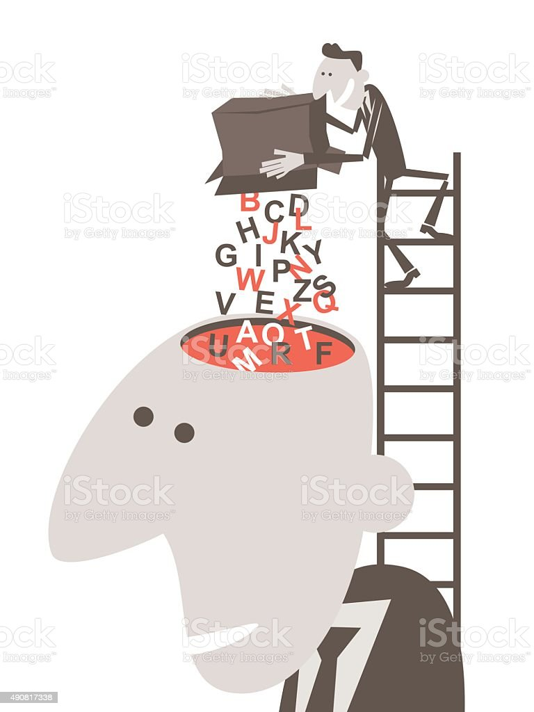 businessman on ladder, pouring English alphabet into man's open head vector art illustration