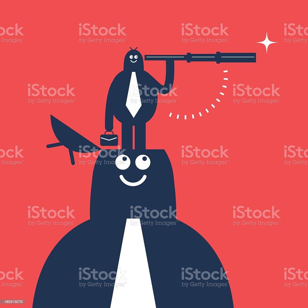 Businessman on large man's opened head, looking through hand-held telescope vector art illustration