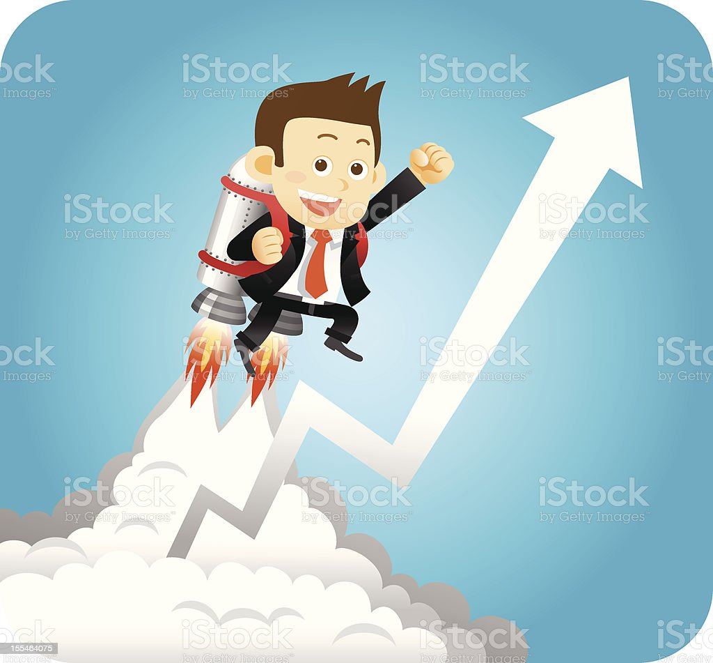 Businessman on Launched Rocket royalty-free stock vector art